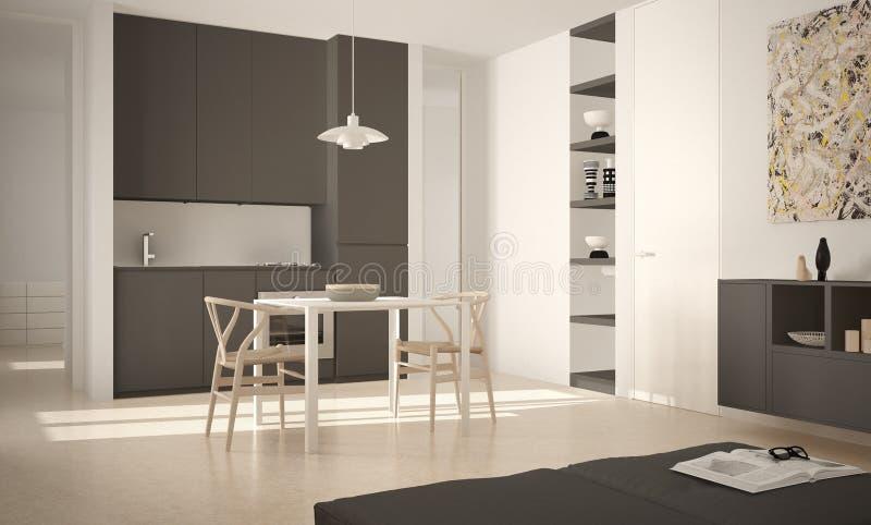 Minimalistische moderne heldere keuken met eettafel en stoelen, grote vensters, wit en grijs architectuur binnenlands ontwerp stock illustratie