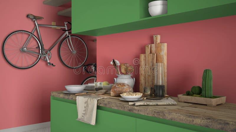 Minimalistische moderne keuken dichte omhooggaand met gezond ontbijt, gekleurd eigentijds rood en groen binnenland royalty-vrije stock afbeeldingen