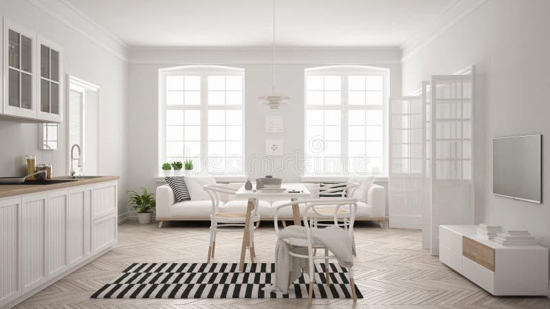 Minimalistische moderne keuken met eettafel en woonkamer, whi vector illustratie