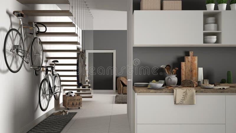 Minimalistische moderne keuken met gezond ontbijt, woonkamer en houten trap, eigentijds wit en grijs binnenland royalty-vrije stock fotografie