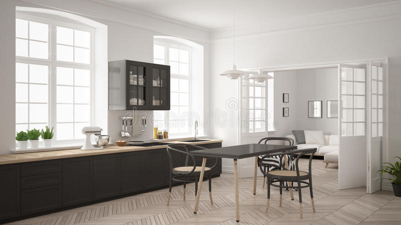Minimalistische Skandinavische witte keuken met woonkamer in de bedelaars royalty-vrije stock afbeeldingen