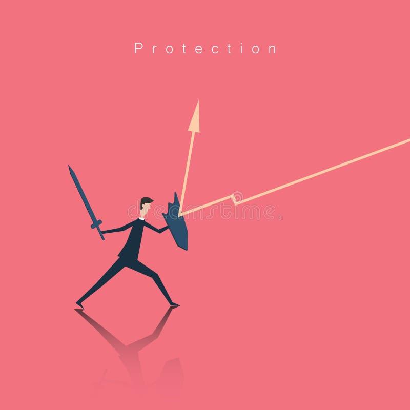 Minimalistische stijl Bedrijfsfinanciën De Illustratie van het beschermingsconcept royalty-vrije illustratie