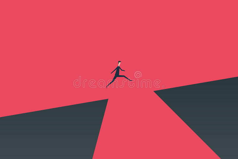 Minimalistische stijl Bedrijfsfinanciën zakenman die over kloofconcept springen Symbool van bedrijfssucces, uitdaging, r stock illustratie