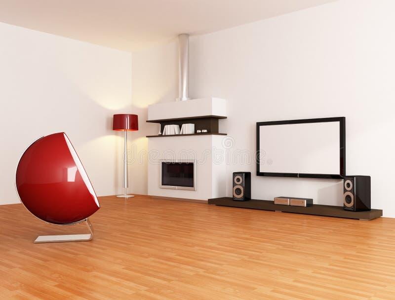 Minimalistische witte woonkamer stock illustratie