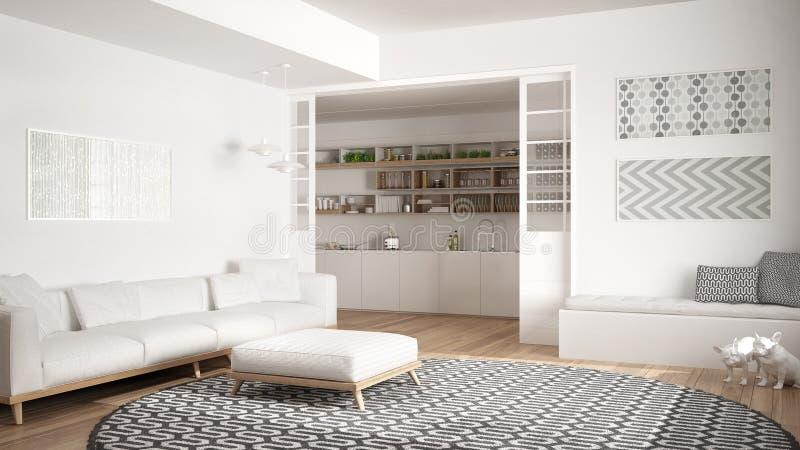 Minimalistische woonkamer met bank, grote ronde tapijt en keuken i stock foto