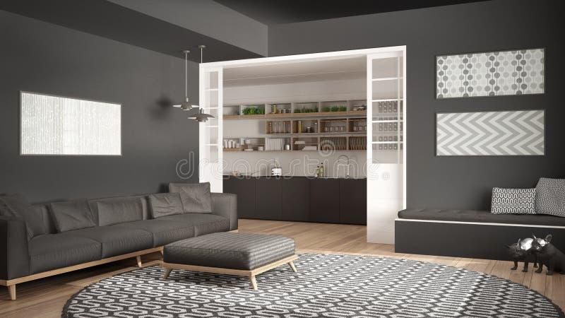 https://thumbs.dreamstime.com/b/minimalistische-woonkamer-met-bank-grote-ronde-tapijt-en-keuken-i-90357090.jpg