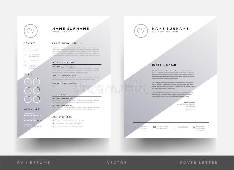 Minimalisty CV letterhead dla kreatywnie osoby i życiorys - creati ilustracja wektor