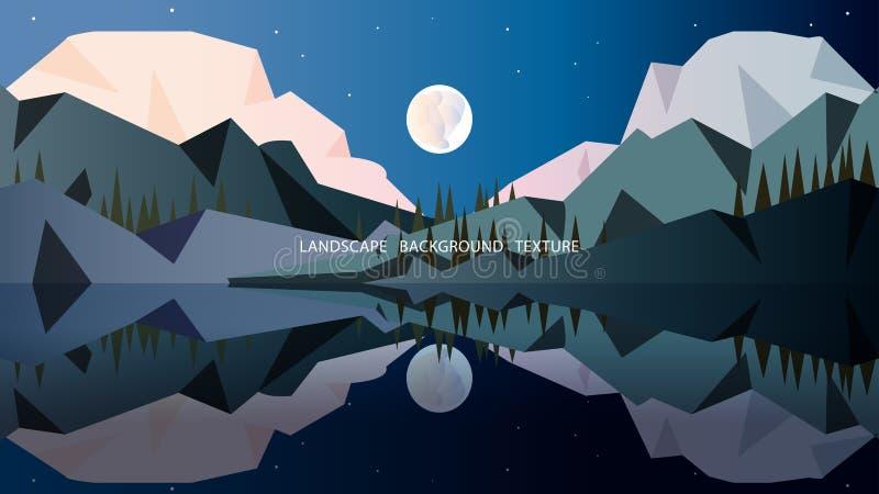 Minimalisty krajobraz w zimnie barwi z wysokimi górami zakrywać royalty ilustracja