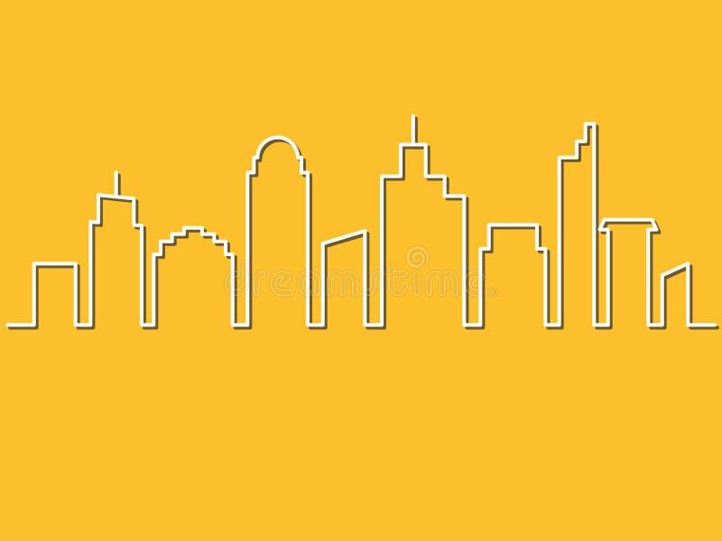 Minimalisty styl, miasto linia horyzontu również zwrócić corel ilustracji wektora Miastowe ziemie ilustracja wektor