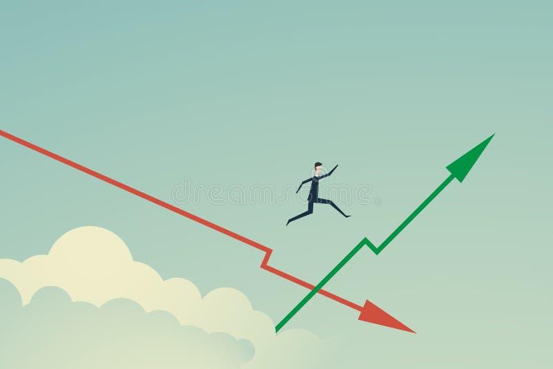 Minimalisty styl Wektorowy biznesu finanse Biznesmen skacze na narastającym zielonym wykresie gdy on wybiera prawą decyzję i ilustracja wektor