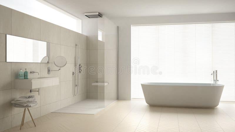 Minimalistyczna łazienka z wanną, prysznic, parkietowa podłoga i m, zdjęcia stock