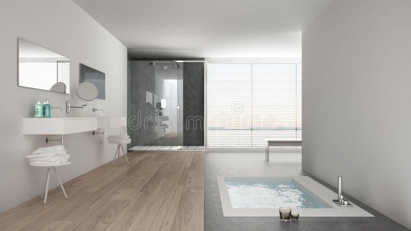 Minimalistyczna biała łazienka z kąpielową balią i panoramicznym okno zdjęcie stock
