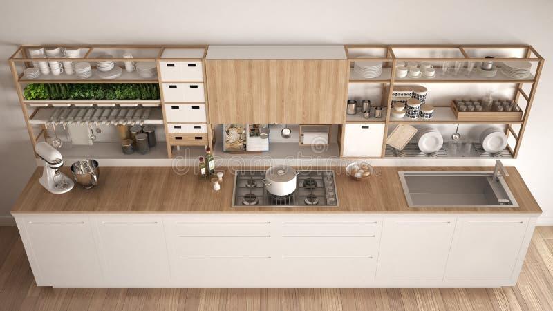 Minimalistyczna biała drewniana kuchnia z urządzenia zakończeniem, scandi ilustracji
