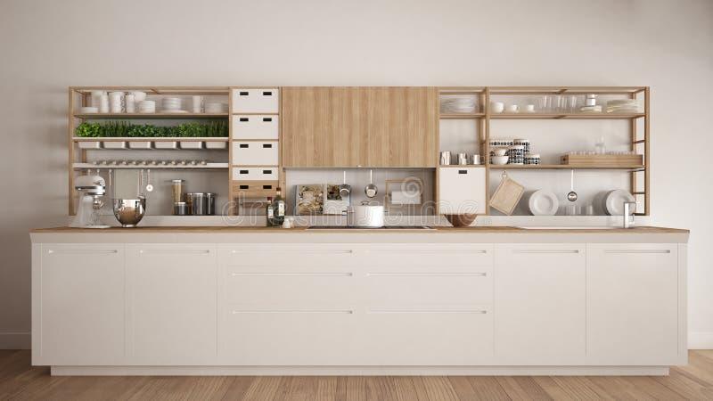 Minimalistyczna biała drewniana kuchnia z urządzenia zakończeniem, scandi royalty ilustracja