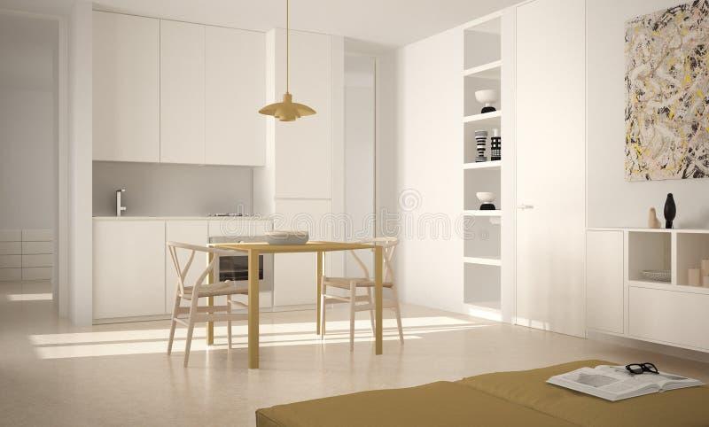 Minimalistyczna nowożytna jaskrawa kuchnia z łomotać stół, krzesła i architektura wewnętrzny projekt, duży okno, bielu i koloru ż obrazy stock