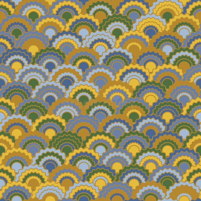 Minimalistyczna syrenka waży squama tło, wektorowy bezszwowy tkanina wzór, kafelkowy tekstylny druk ilustracja wektor