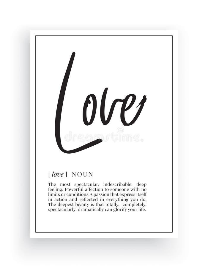 Minimalistyczni sformułowania Projektują, Kochają, definicję, Ścienny wystrój, Ścienni Decals wektory, miłość rzeczownika opis, W royalty ilustracja