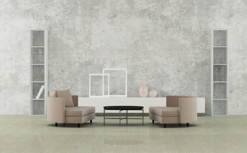 Minimalistyczny żywy pokój ilustracji