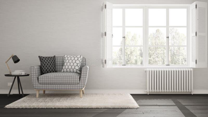 Minimalistyczny żywy pokój, prosty utrzymanie z dużymi wi, biały i szary ilustracji
