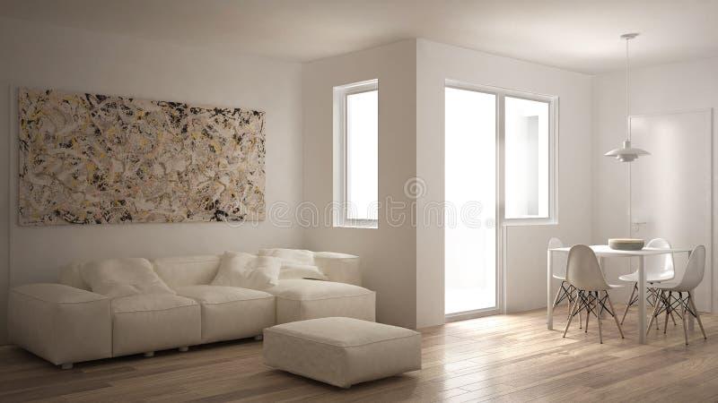 Minimalistyczny żywy pokój z kanapą, łomotający stół i krzesła, duży okno, biały nowożytny architektury wnętrze royalty ilustracja