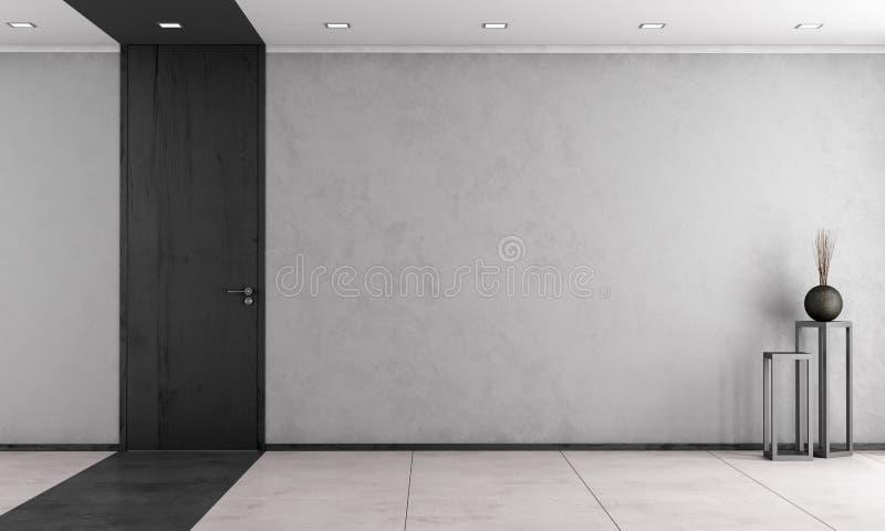 Minimalistyczny żywy pokój z zamkniętym drzwi ilustracja wektor
