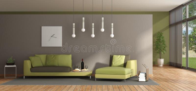 Minimalistyczny żywy pokój z zieloną kanapą ilustracji