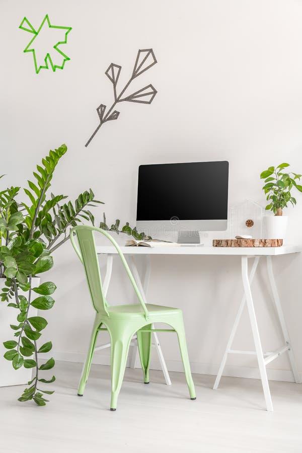 Minimalistyczny biurowy wnętrze z nowym krzesłem i roślinami zdjęcie stock