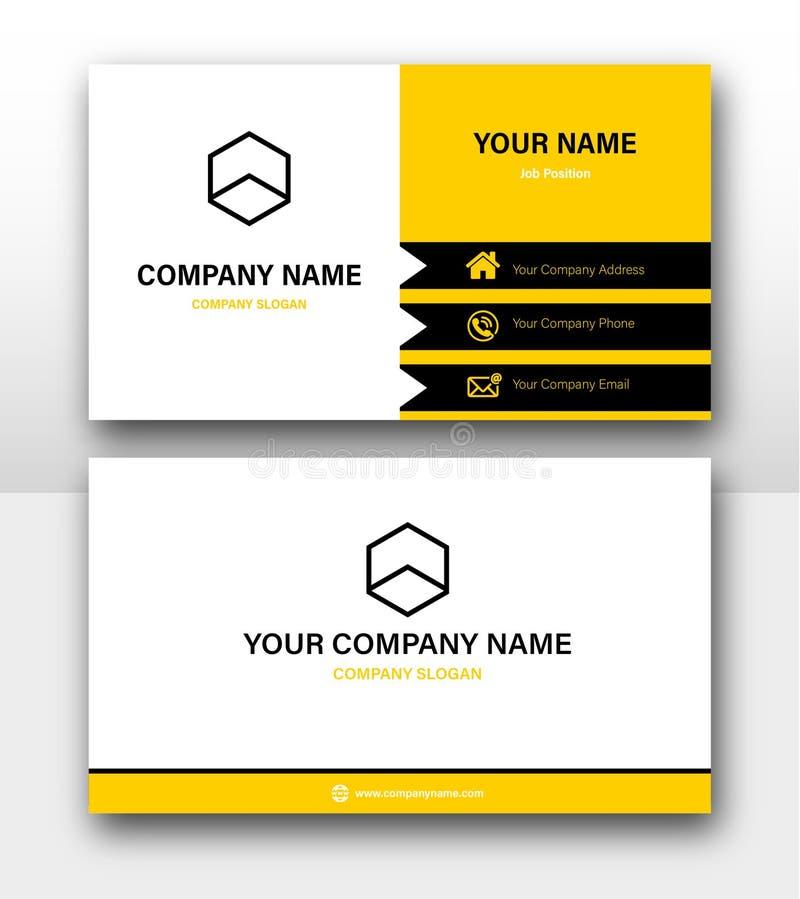 Minimalistyczny Korporacyjny żółty wizytówka projekta wektorów szablon ilustracja wektor