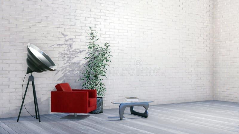 Minimalistyczny loft mieszkania wnętrze z ścianą z cegieł royalty ilustracja
