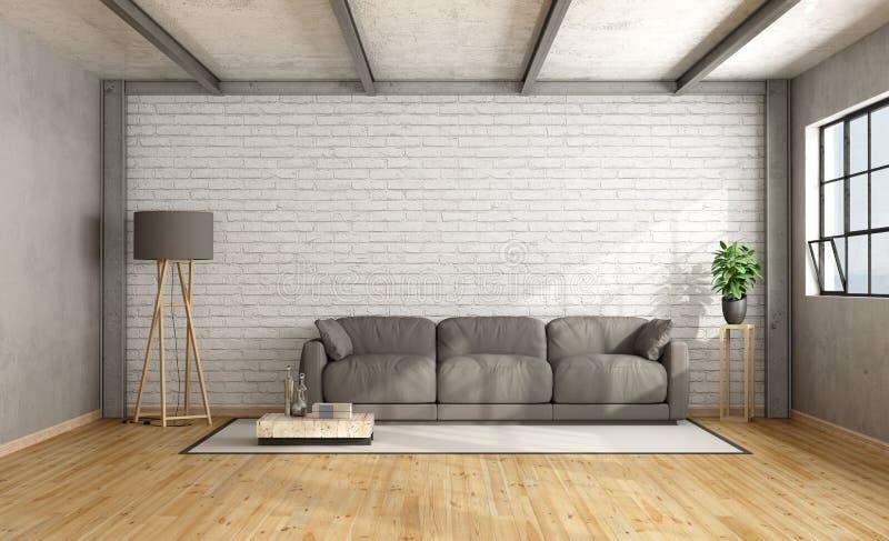 Minimalistyczny loft wnętrze ilustracji