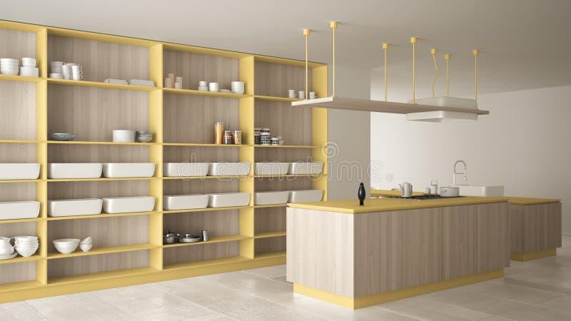 Minimalistyczny luksusowy drogi kolor żółty i hob drewniany kuchni, wyspy, zlew i gazu, otwarta przestrzeń, marmurowa ceramiczna  ilustracji