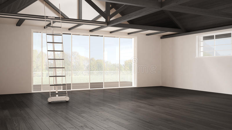 Minimalistyczny mezoninu loft, pusta przemysłowa przestrzeń, drewniany roofin zdjęcie royalty free
