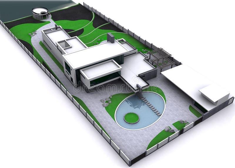 Minimalistyczny nowożytny nieruchomości widok z lotu ptaka plan mistrzowski, 3D rendering ilustracja wektor