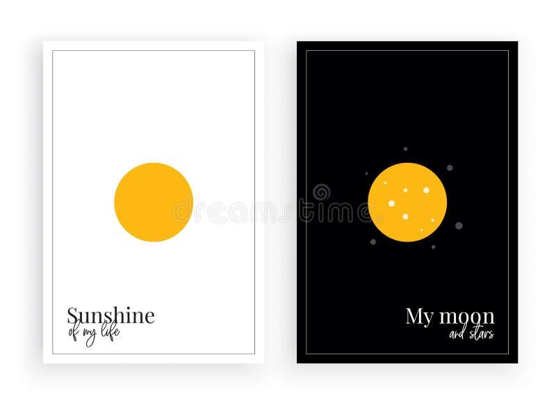 Minimalistyczny plakatowy projekt, wektor, światło słoneczne mój życie, mój księżyc i gwiazdy, piękne wyceny, formułujący projekt ilustracji