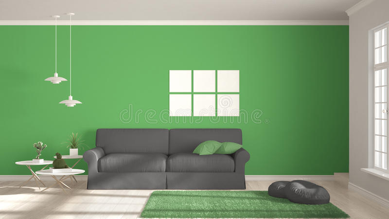 Minimalistyczny pokój, utrzymanie z dużymi wi, prosty bielu, szarość i zieleni, ilustracja wektor