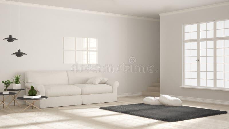 Minimalistyczny prosty jasny utrzymanie, biel i szarość, scandinavian cla ilustracji