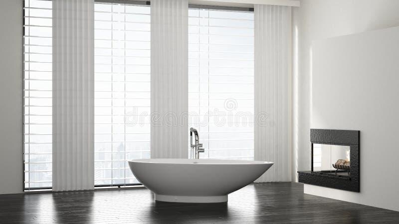 Minimalistyczny przestronny nowożytny łazienki wnętrze royalty ilustracja