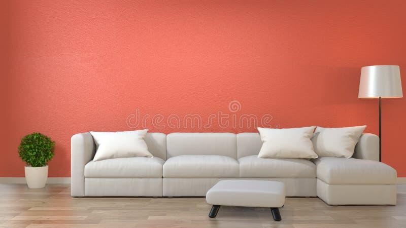 Minimalistyczny wewnętrzny żywy pokój, Żywy koralowy wystroju pojęcie z kanapą na drewnianej podłodze ?wiadczenia 3 d royalty ilustracja