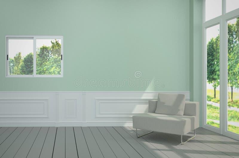 Minimalistyczny wnętrze z białym krzesłem na błękita światła ścianie ?wiadczenia 3 d royalty ilustracja