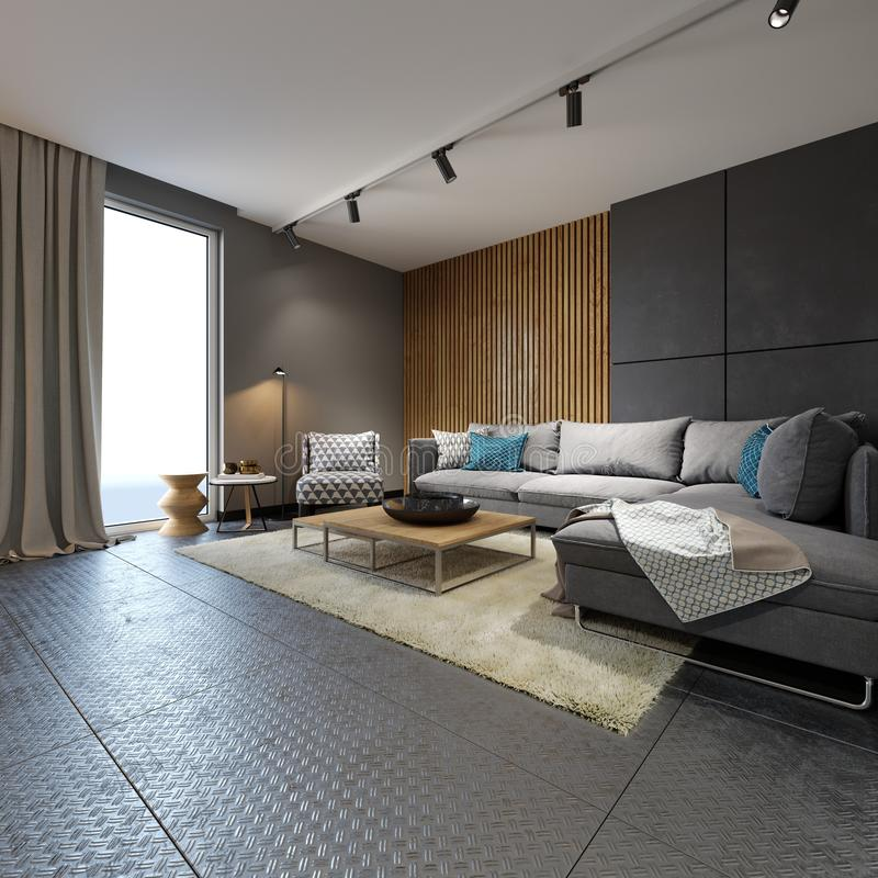 Minimalistyczny współczesny żywy pokój z kanapami w loft stylu mieszkaniu ilustracji