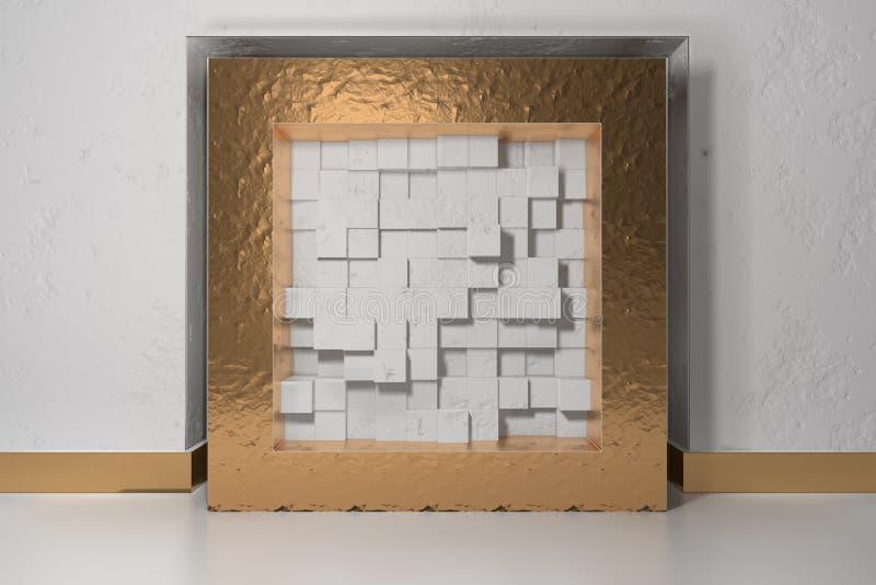 Minimalizm, egzamin próbny w górę plakata, 3d illutration wnętrze Złota rama w niszie w biel gipsującej ścianie wypełniał z royalty ilustracja