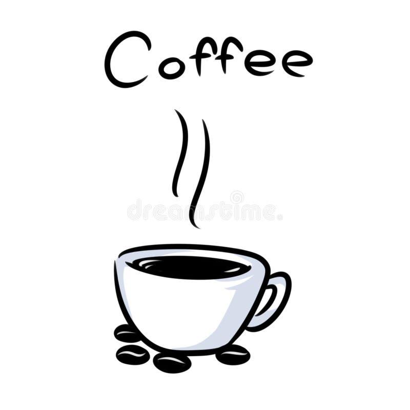 Minimalizm filiżanki gorąca kawa groszkuje kreskówkę royalty ilustracja