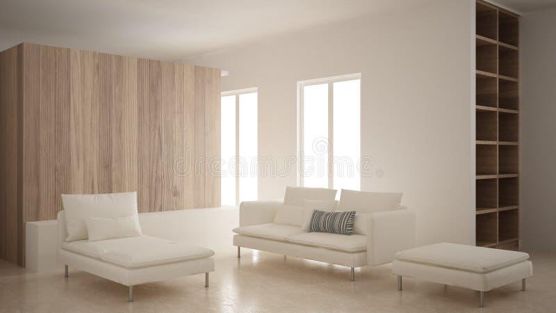 Minimalizm, nowożytny żywy pokój z drewnianą ścianą, kanapa, bryczki longue i pouf, trawertyn marmurowa podłoga, biały wewnętrzny obrazy royalty free