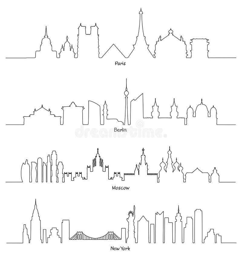 Minimalna Liniowa linia horyzontu Paryż, Berlin, Moskwa i Nowy Jork, royalty ilustracja