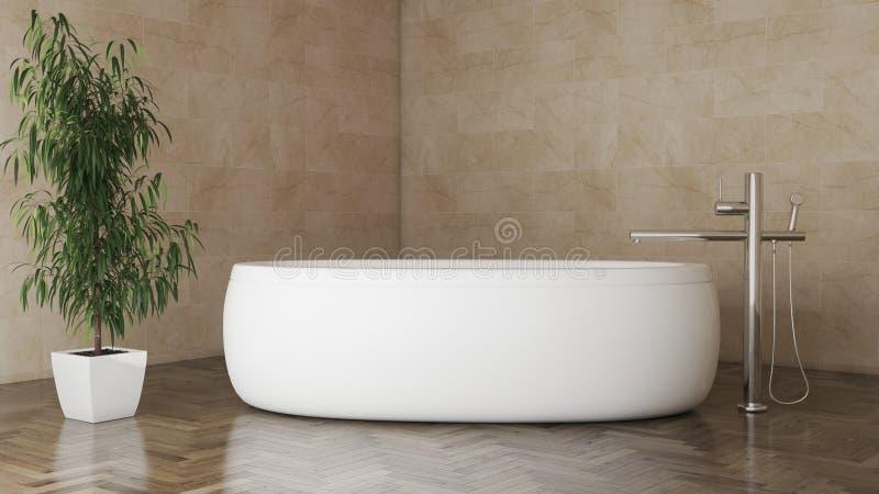 Minimalna nowożytna łazienka z ciemny parkietowym i rośliny 3D ilustracją royalty ilustracja