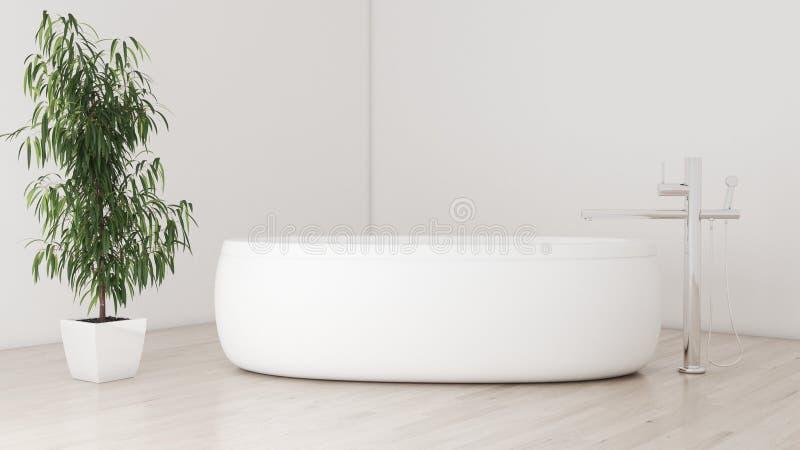 Minimalna nowożytna łazienka z parkietowym i rośliny 3D ilustracją ilustracja wektor