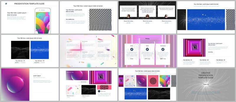 Minimalne prezentacje, portfolio szablony z wibrującymi kolorowymi abstrakcjonistycznymi gradientowymi tło Broszurka okładkowy we ilustracja wektor