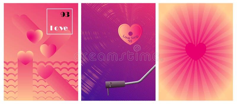 Minimalnego velentine dnia karciany projekt Różowy halftone gradientu tło Miłość winylu gracz royalty ilustracja