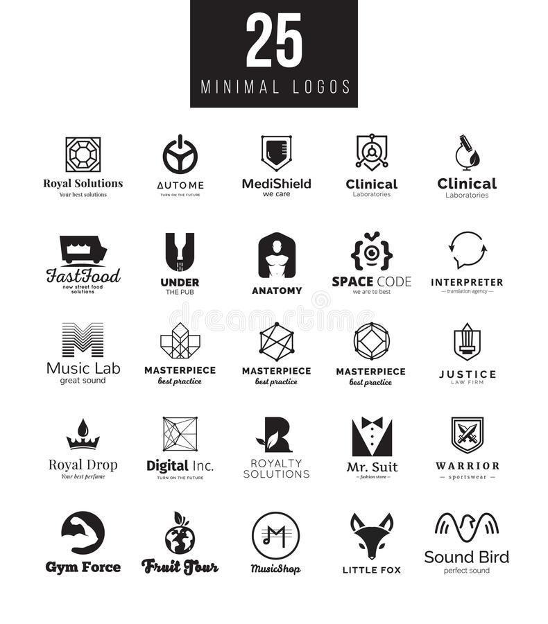 Minimalni loga projekta szablony inkasowi Duży set czarny i biały symbole na różnych tematach royalty ilustracja