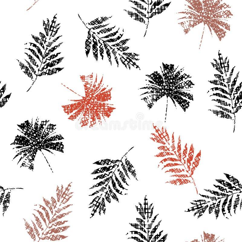 Minimalni Nowożytni tropikalni liście bezszwowy wzór, palma i paprociowi liście w ręka rysującym kreskowym nakreśleniu na tekstur ilustracja wektor